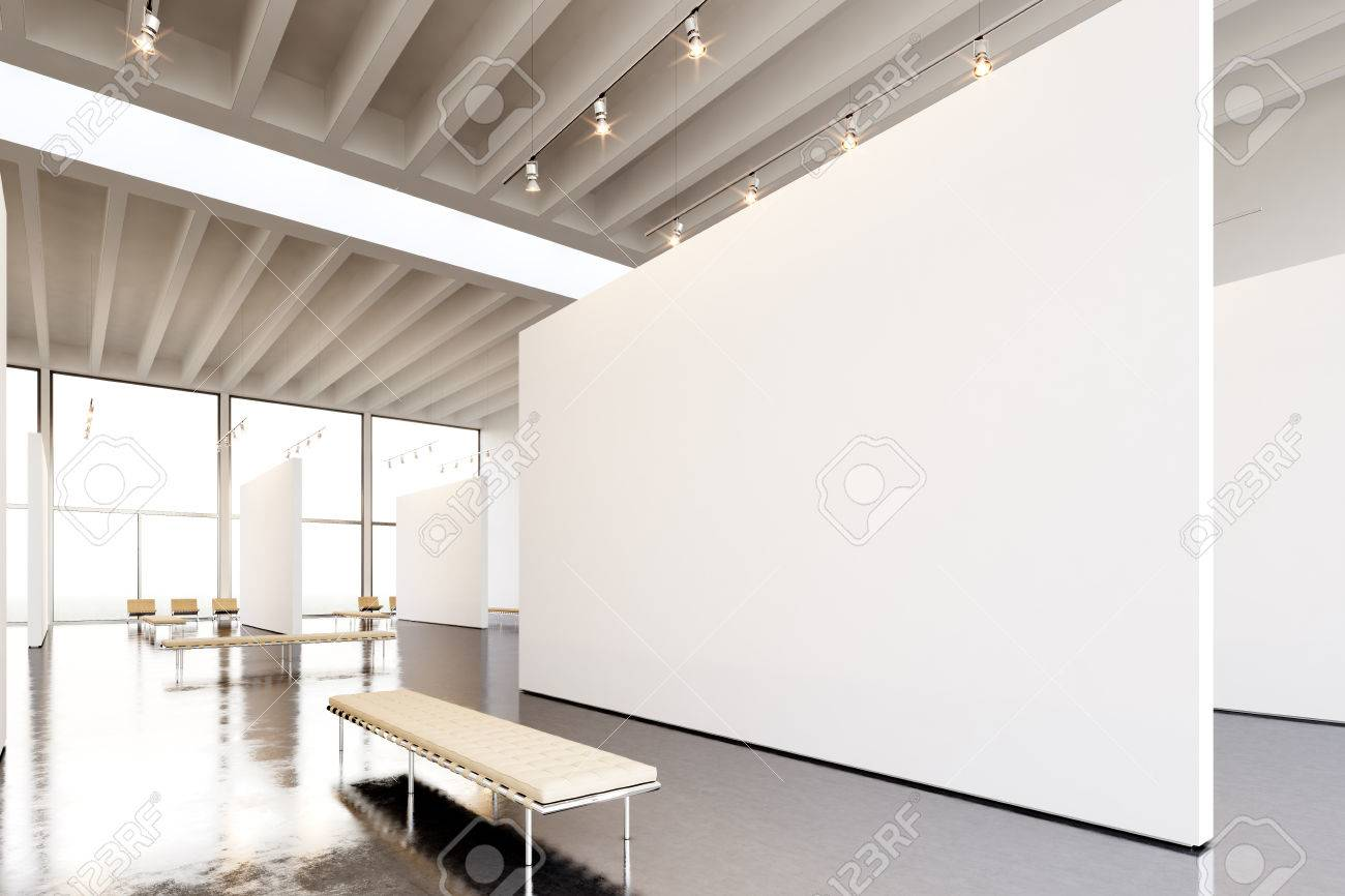 Photo Exposition Modern Gallery Huge White Empty Canvas Hanging Stock Photo Picture And Royalty Free Image Image 54558325