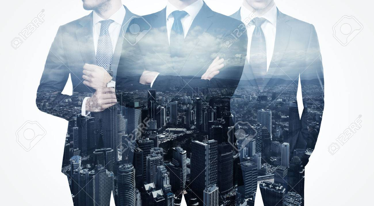 Photo of trio stylish adult businessman wearing trendy suit. Double exposure, panoramic view contemporary city background. Man power, leadership, isolated on white. - 54558333