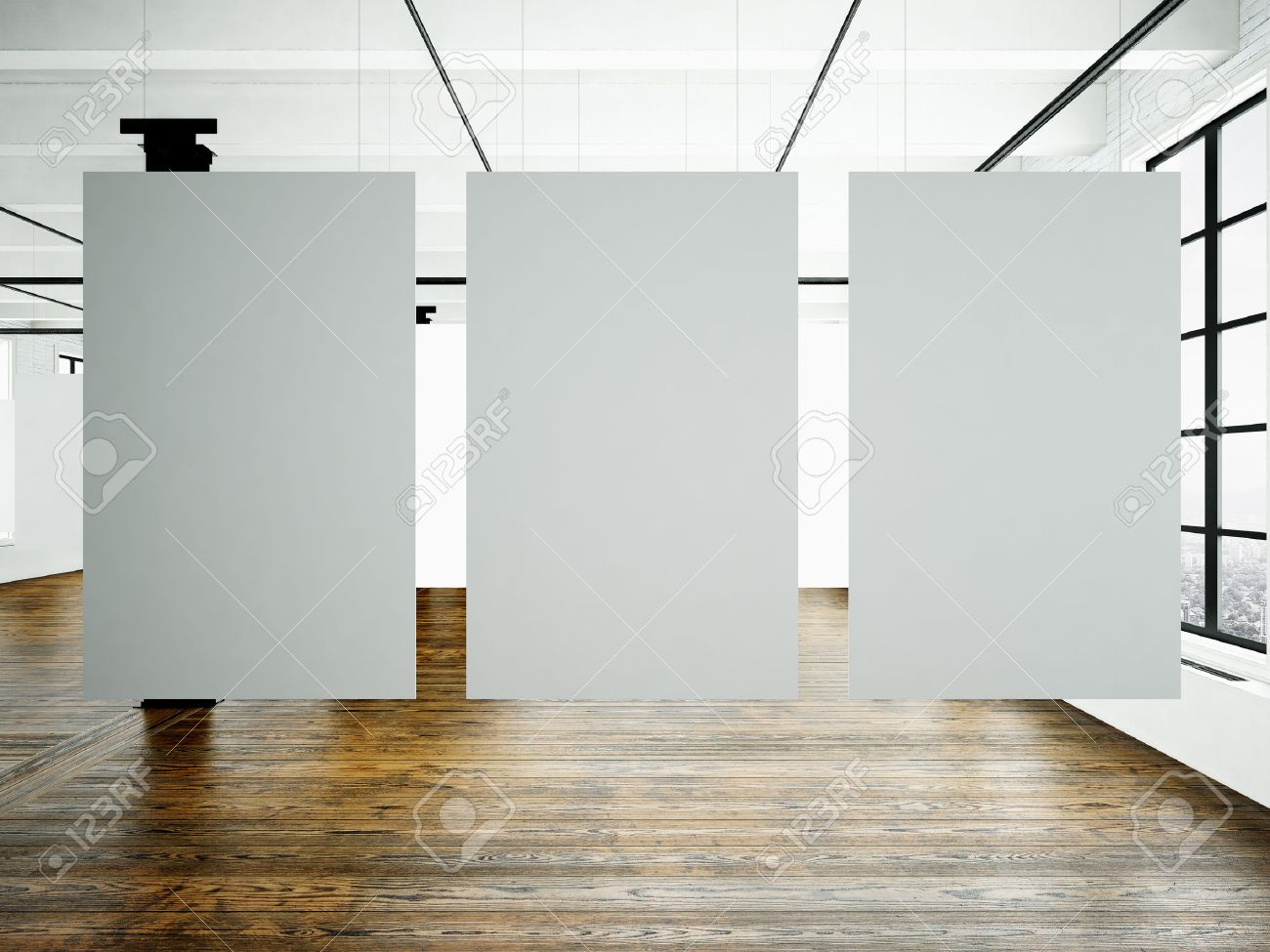 Photo Of Museum Interior In Modern Building.Open Space Studio. Empty White  Canvas Hanging