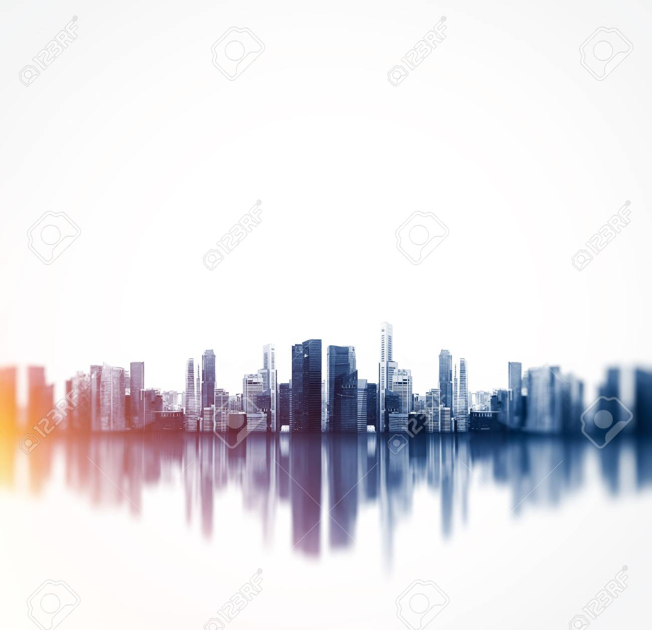 Panoramic view of a megalopolis with reflection. - 54818753