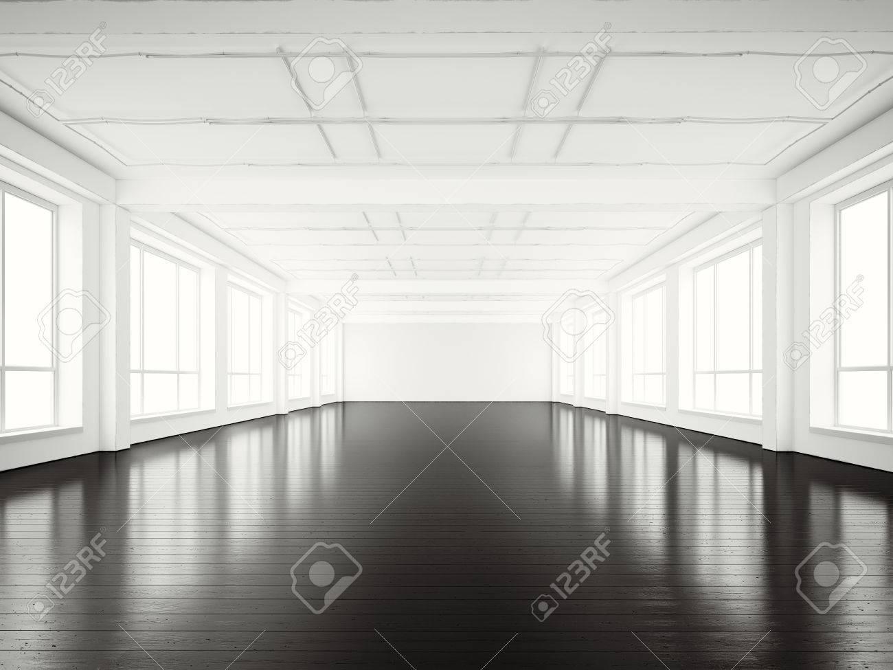 Photo de bureau open space building empty moderne style loft