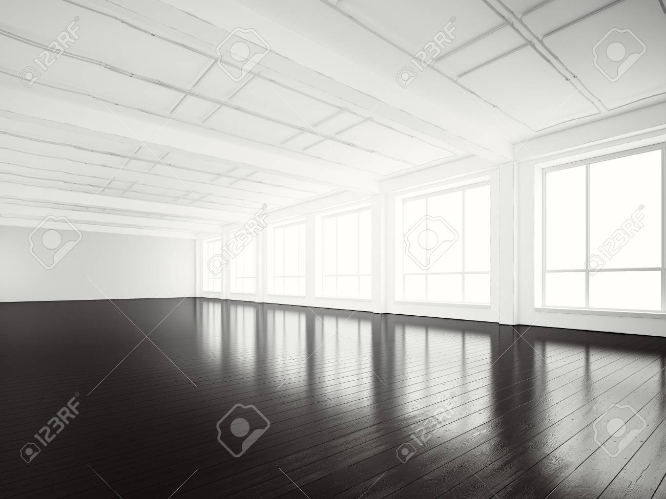 Photo de bureau open space building.empty moderne style loft