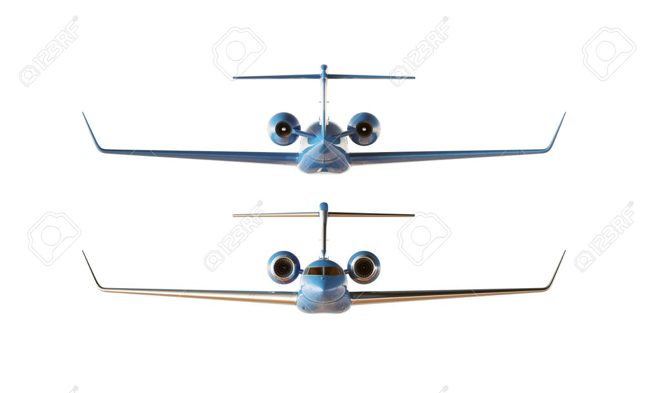 Photo Blue Luxury Glossy Generic Modèle De Conception Avion Privé Effacer Mockup Isolated Blank Blanc Backgroundbusiness Voyage Image Façade