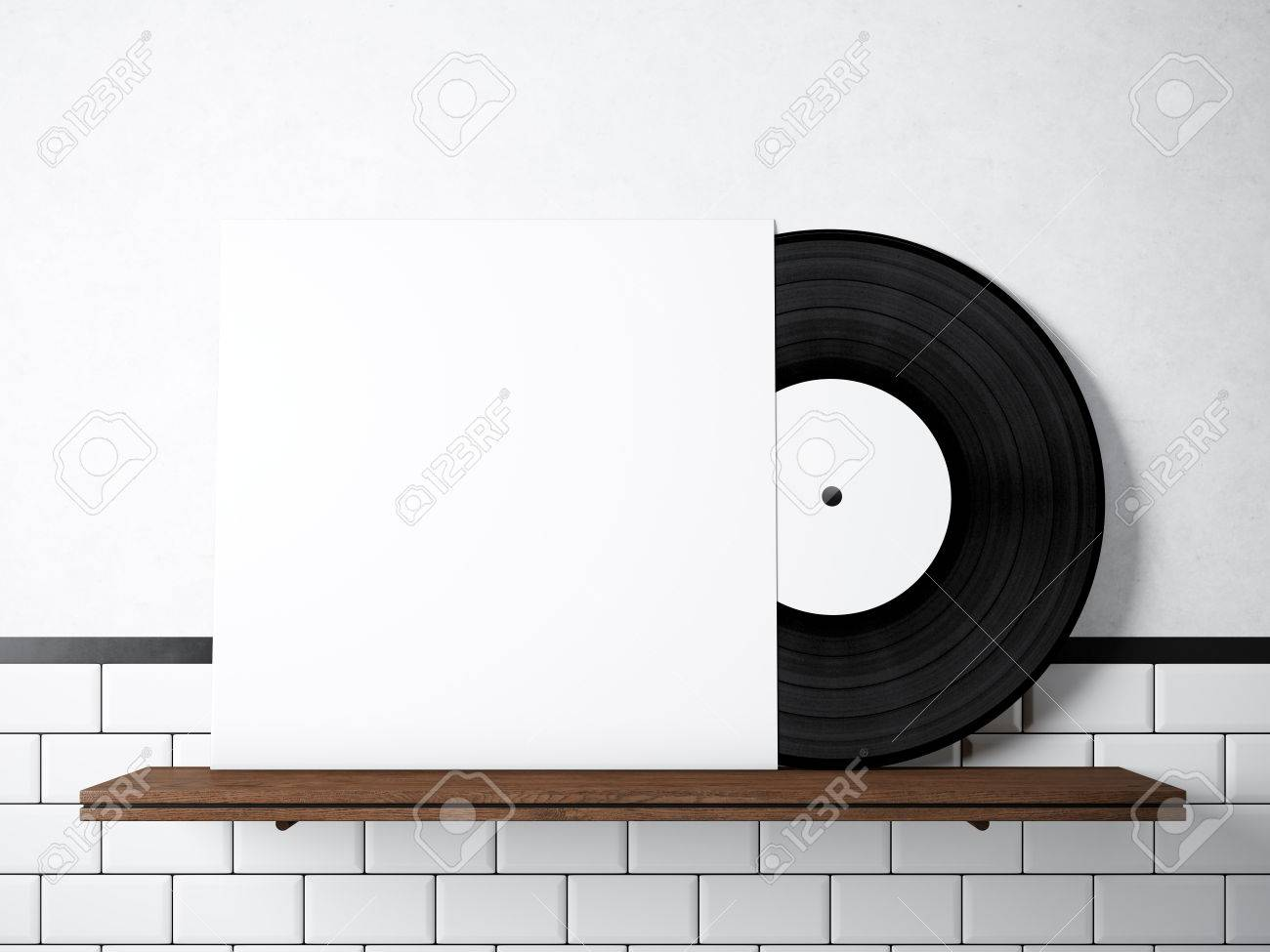 Photo Vinyl Music Album Template On Natural Wood Bookshelfwhite
