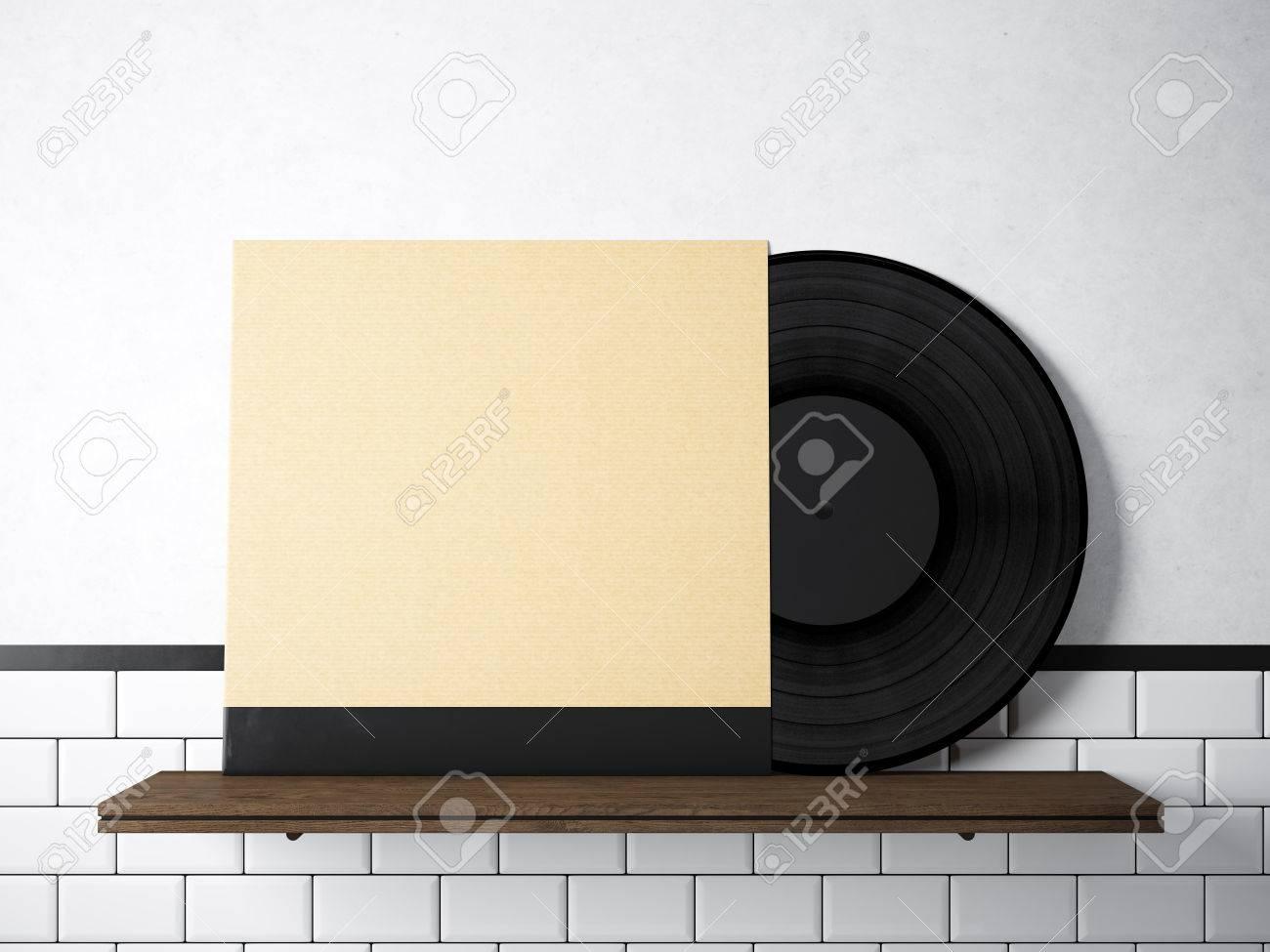 Image Vinyl Music Album Template On Natural Wood Bookshelf.White ...
