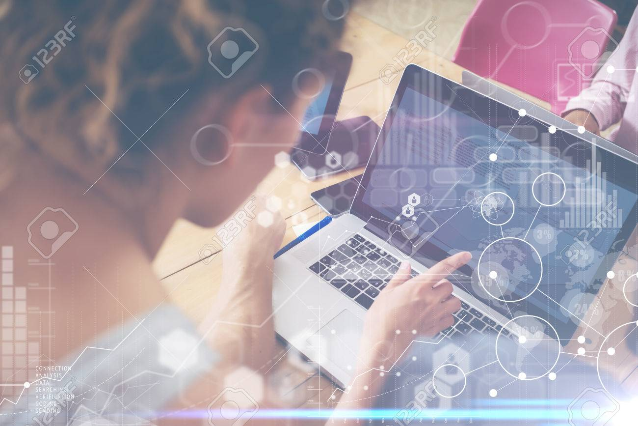 Woman Working Modern Desktop Notebook Wood Table Concept.Account Manager Researching Process.Business Team Startup Croworking People Sharing Office.Global Strategy Virtual Icon Graph Interface.Blurred - 62460437