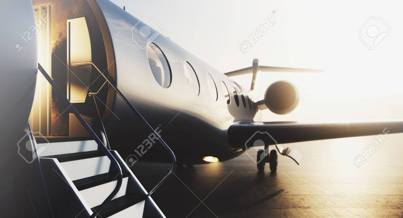 Business private jet airplane parked at terminal. Luxury tourism and business travel transportation concept. Closeup. 3d rendering. - 127283555