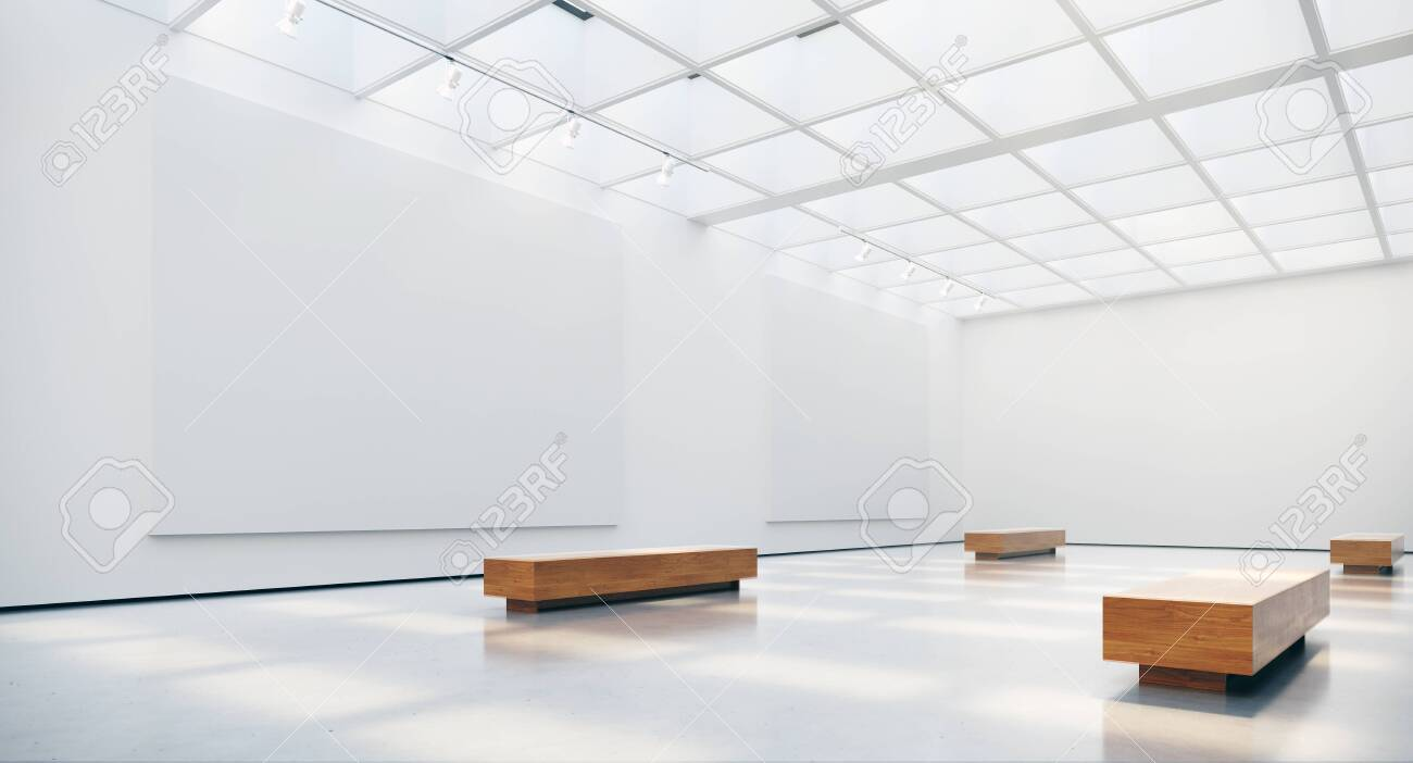 Gallery interior with blank picture frames spot lights and natural sunlights. 3d rendering - 127295979