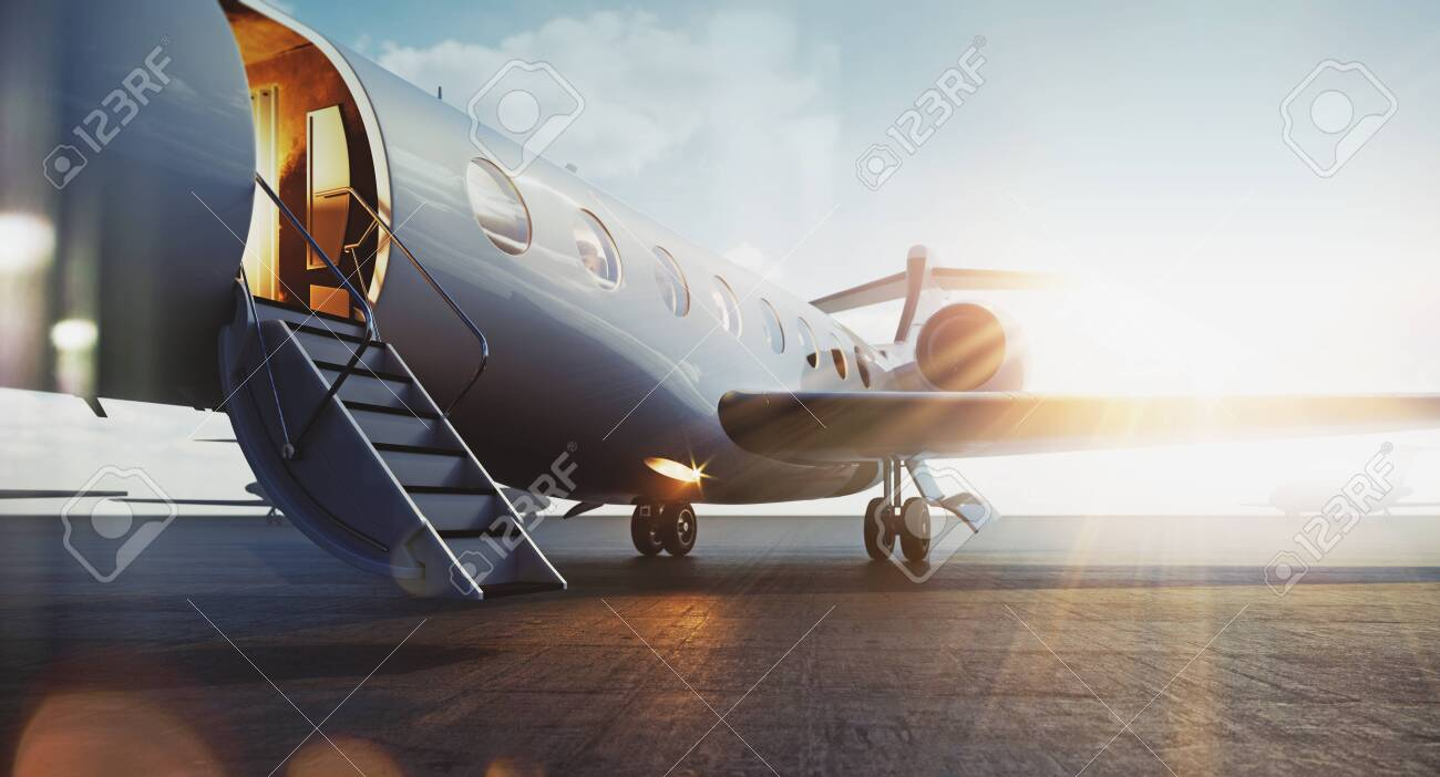 Business jet airplane parked at outside and waiting vip persons. Luxury tourism and business travel transportation concept. Flares. 3d rendering. - 131857868