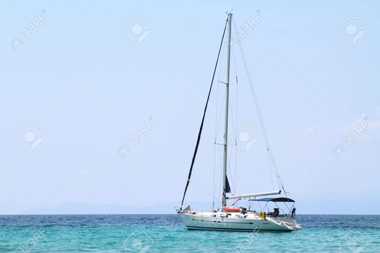 sailing boat anchored in a bay Stock Photo - 21419019
