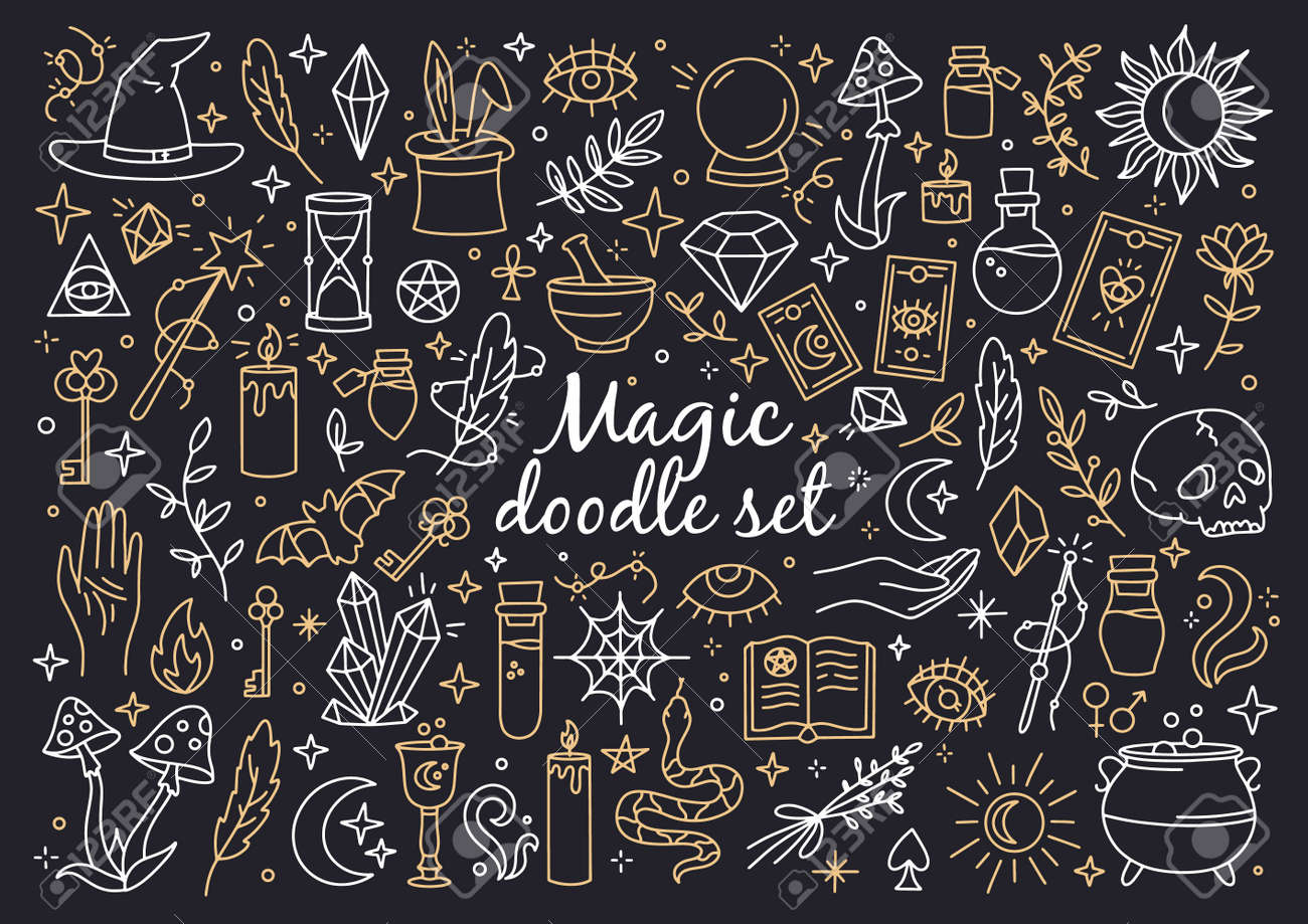 A magical set of doodle style icons. Vector linear witchcraft and mystical symbols. Esoteric items. - 165020884