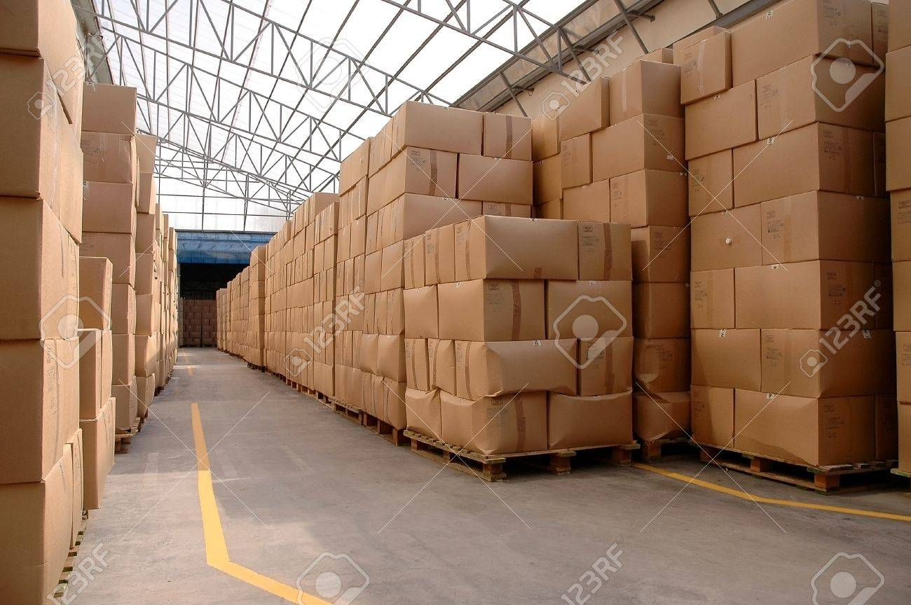 Modern warehouse with cardboard cartons ready to ship Stock Photo - 15885864