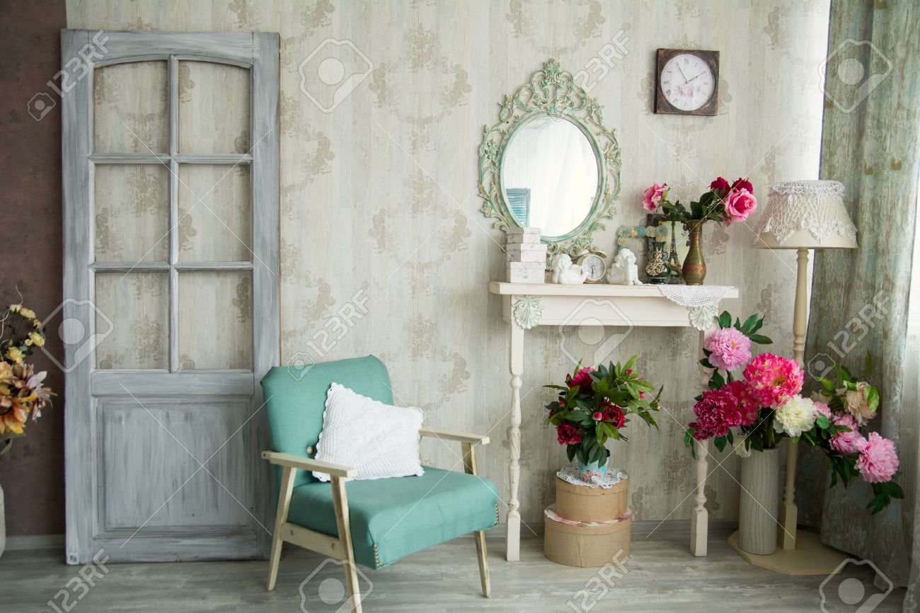 Vintage Country House Interior With Mirror And A Table With A ...