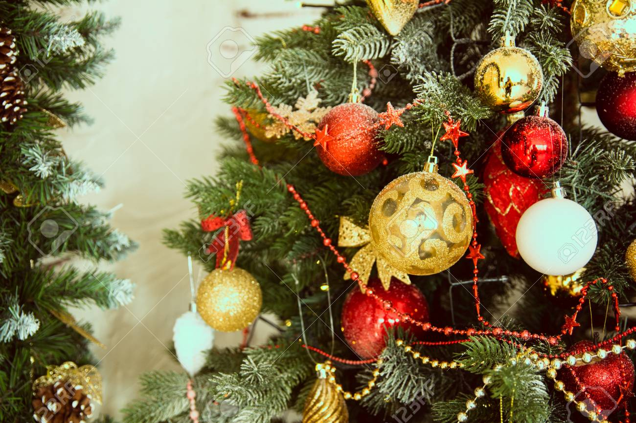 Pretty Dressed Up Christmas Tree Close Background For Holiday Stock Photo