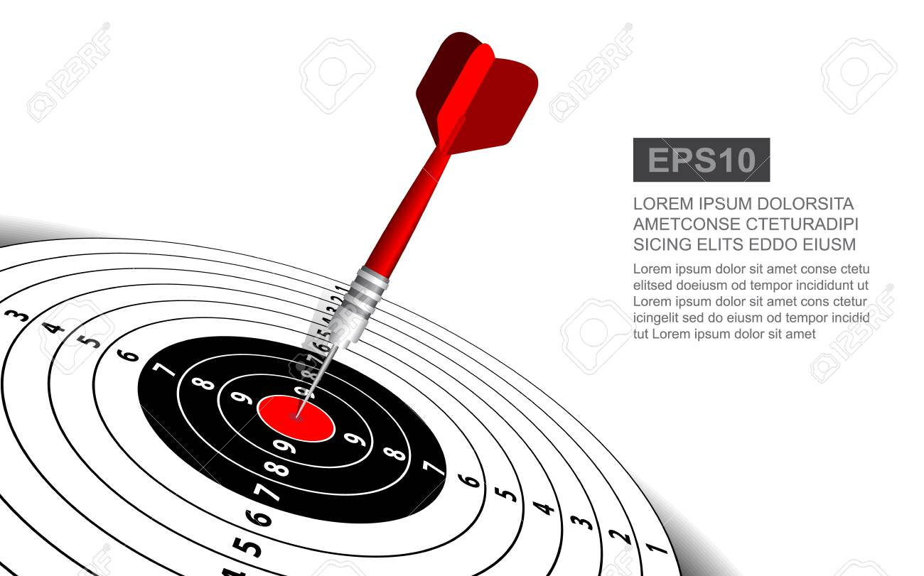 Dart Board Vector Illustration Isolated For Darts Game Shooting