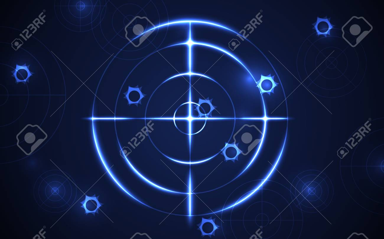 Abstract shooting range with bullet hole on blue background vector illustration. Success business target goal solutions concept. - 112082624