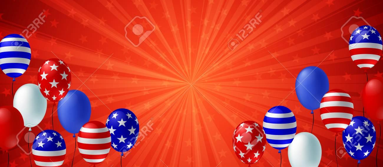 Red color burst background poster flyer banner. American flag balloon vector design. Holiday celebration concept template. - 110270295