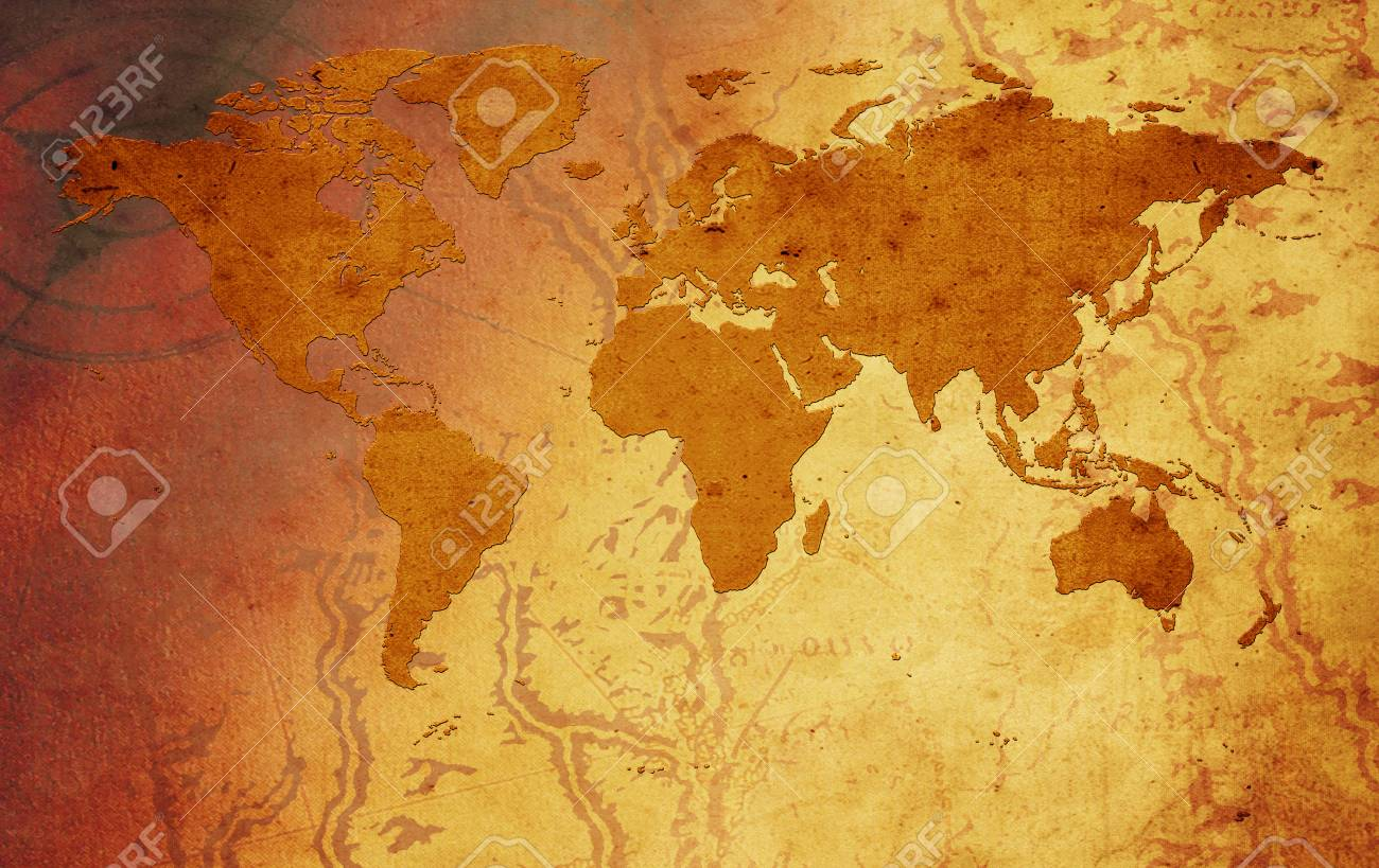 Vintage Global Map Of The World Stock Photo, Picture And Royalty ...