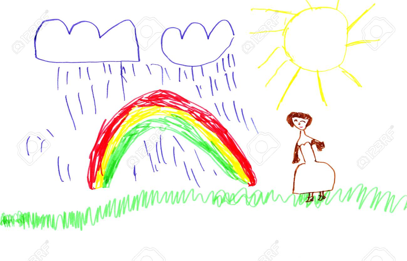 Bright colorful marker handdrawn child rainbow picture on a white