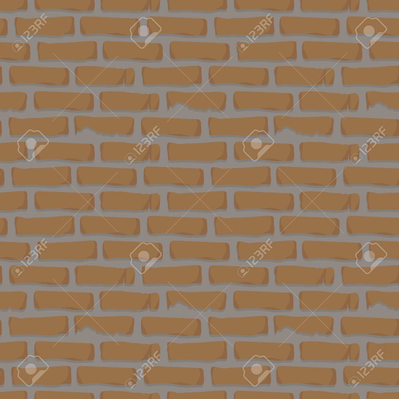 Seamless pattern brick wall orange with cement construction repair