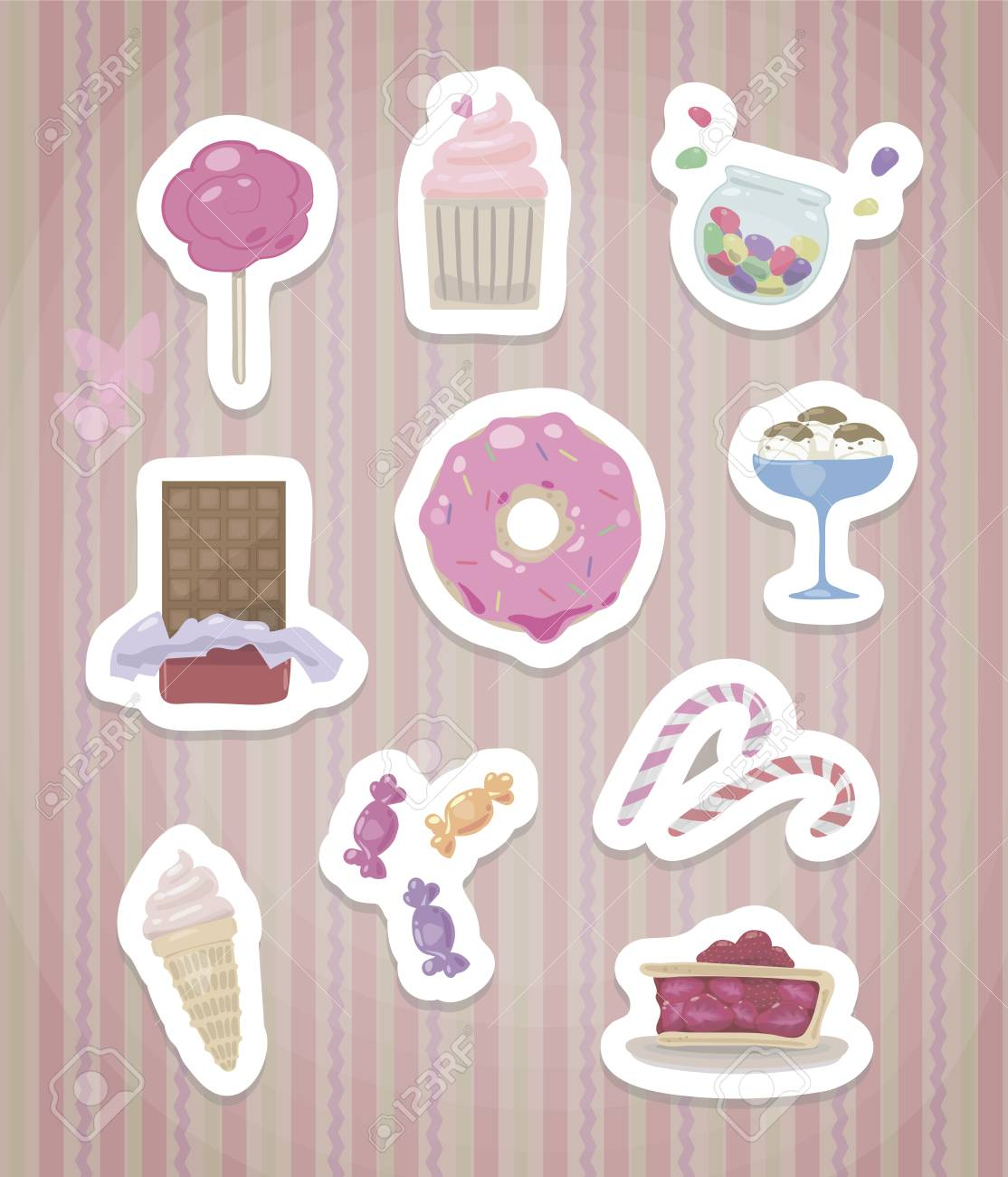 A Set Of Stickers With Cute Sweet Isolated With A White Edge