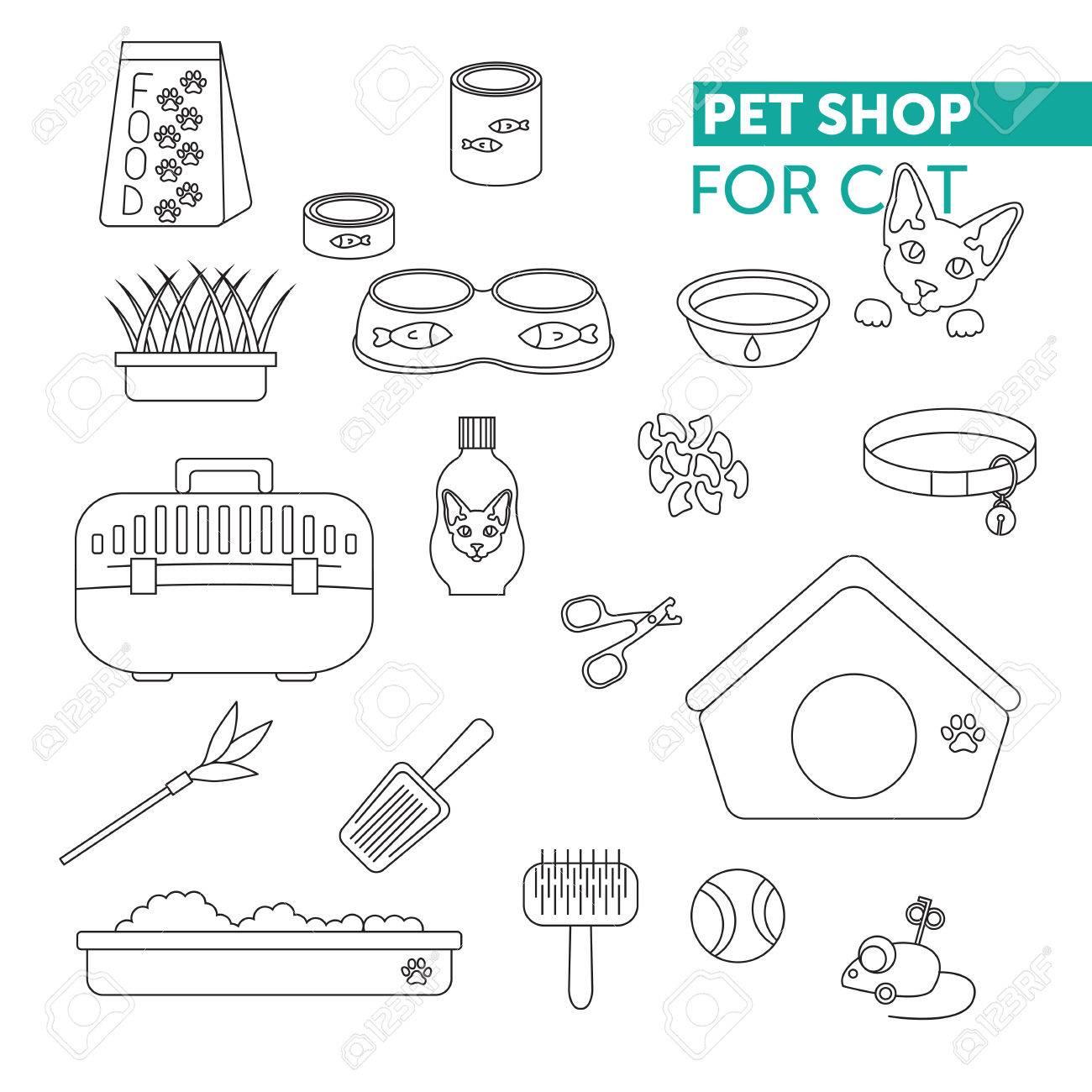 ベクトル線アイコンを設定。ペット ショップのハサミの爪、リター スコップ、ネコ用のトイレ、ペット犬小屋、シャンプー、オート麦、ネイル  キャップ、猫のための食糧
