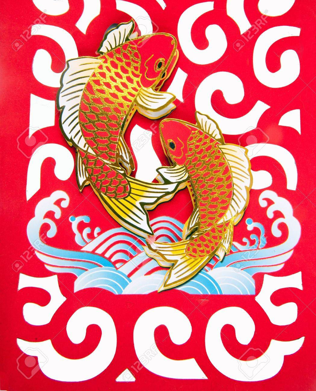 fish jump on clouds of lunar year decoration Stock Photo - 12070715
