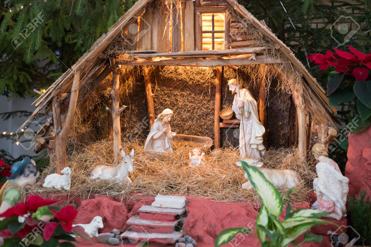 christmas crib with child jesus father josef and virgin mary