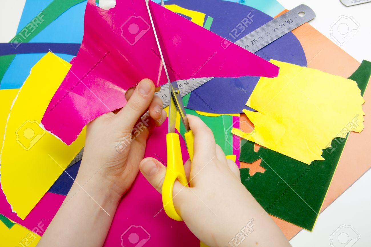 colored paper glue scissors and childrens handmade card stock photo 13042017 - Color Paper For Kids