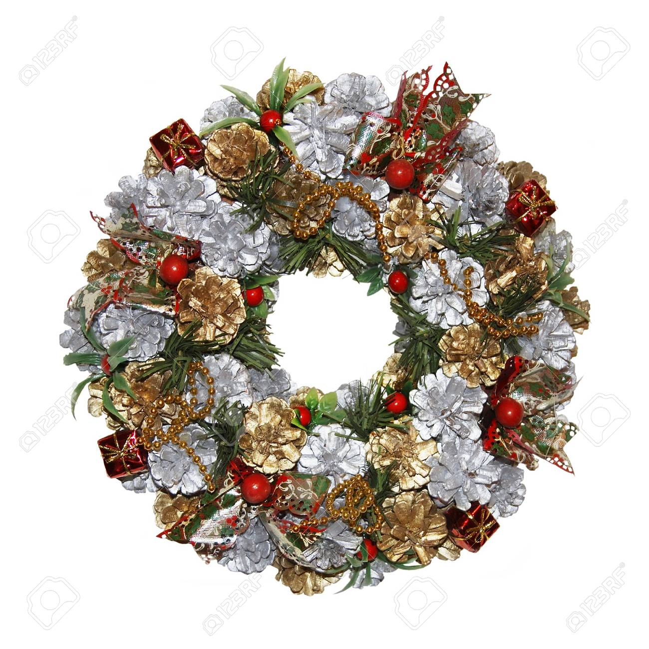 a multifarious and traditional christmas wreath isolated on a white background - 716000