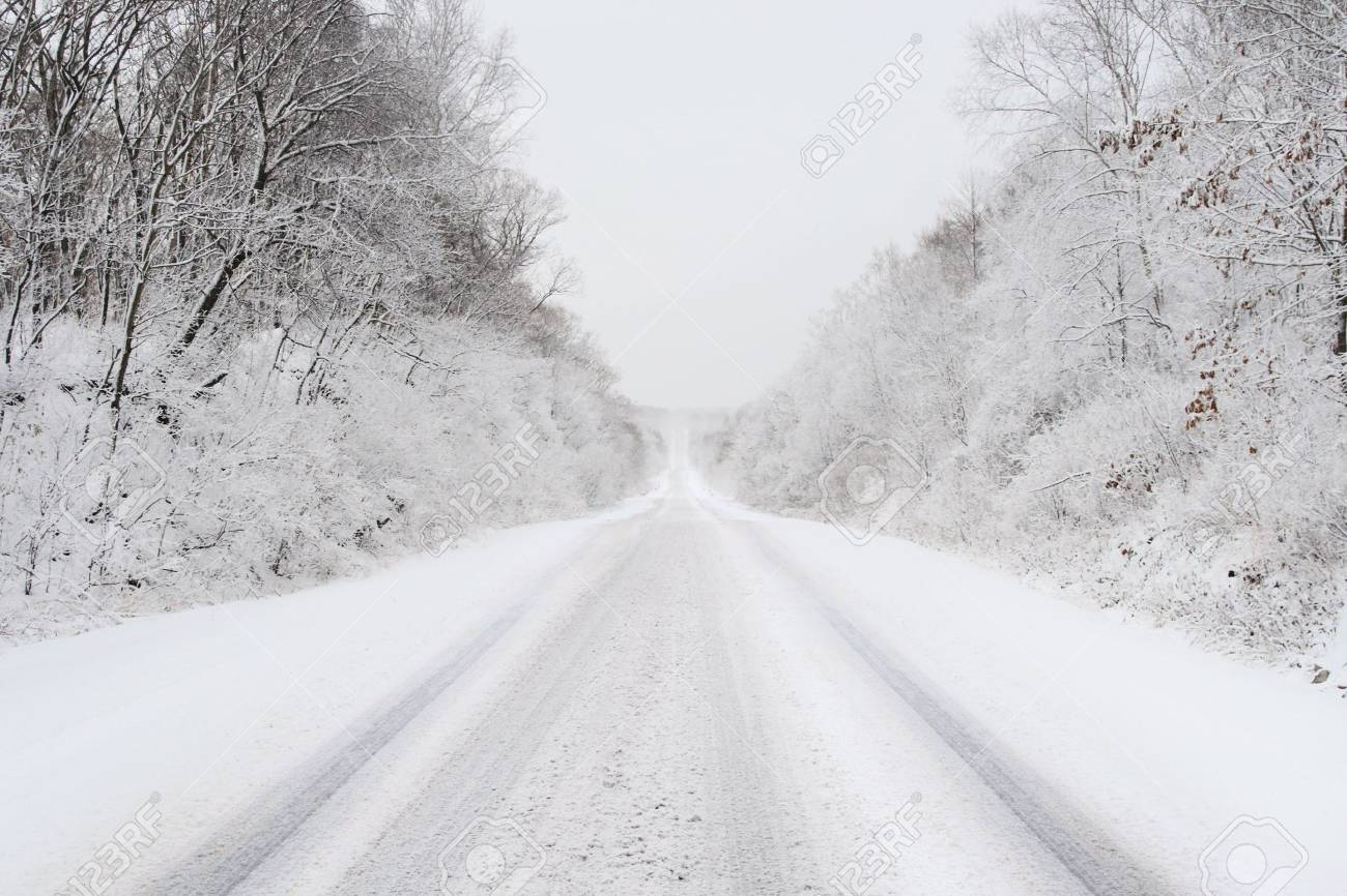 snow covered country road in february - 761951