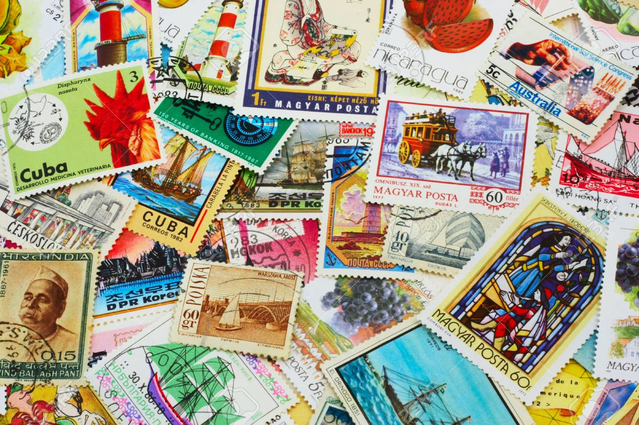 shot of the random collection of postal stamps (1920-2000s) - 784764