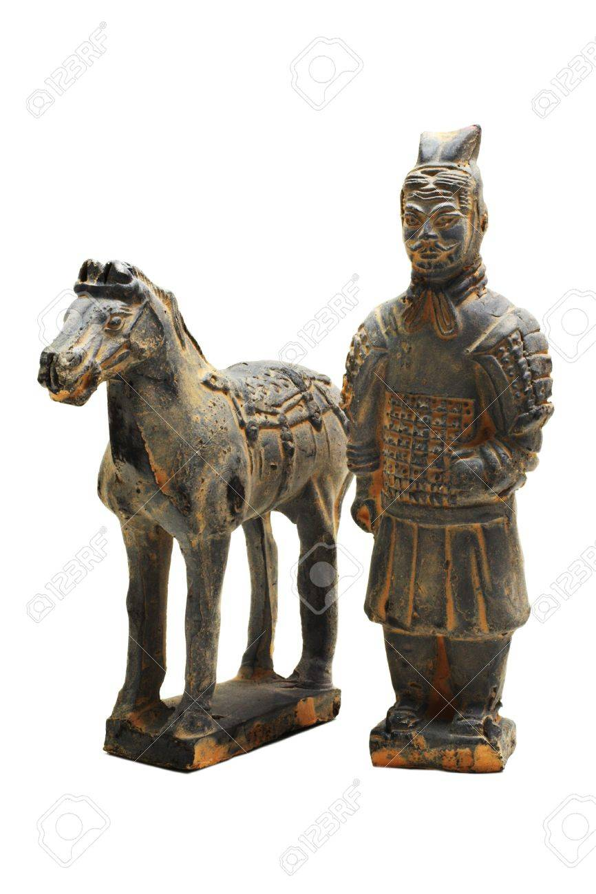 miniature terracotta warrior of oin dynasty with horse on a white background with pretty shadows - 819848