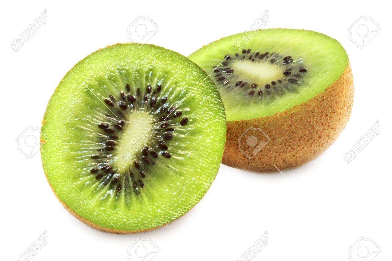 macro shot of sliced open kiwi fruit on a white background with pretty shadows - 819849