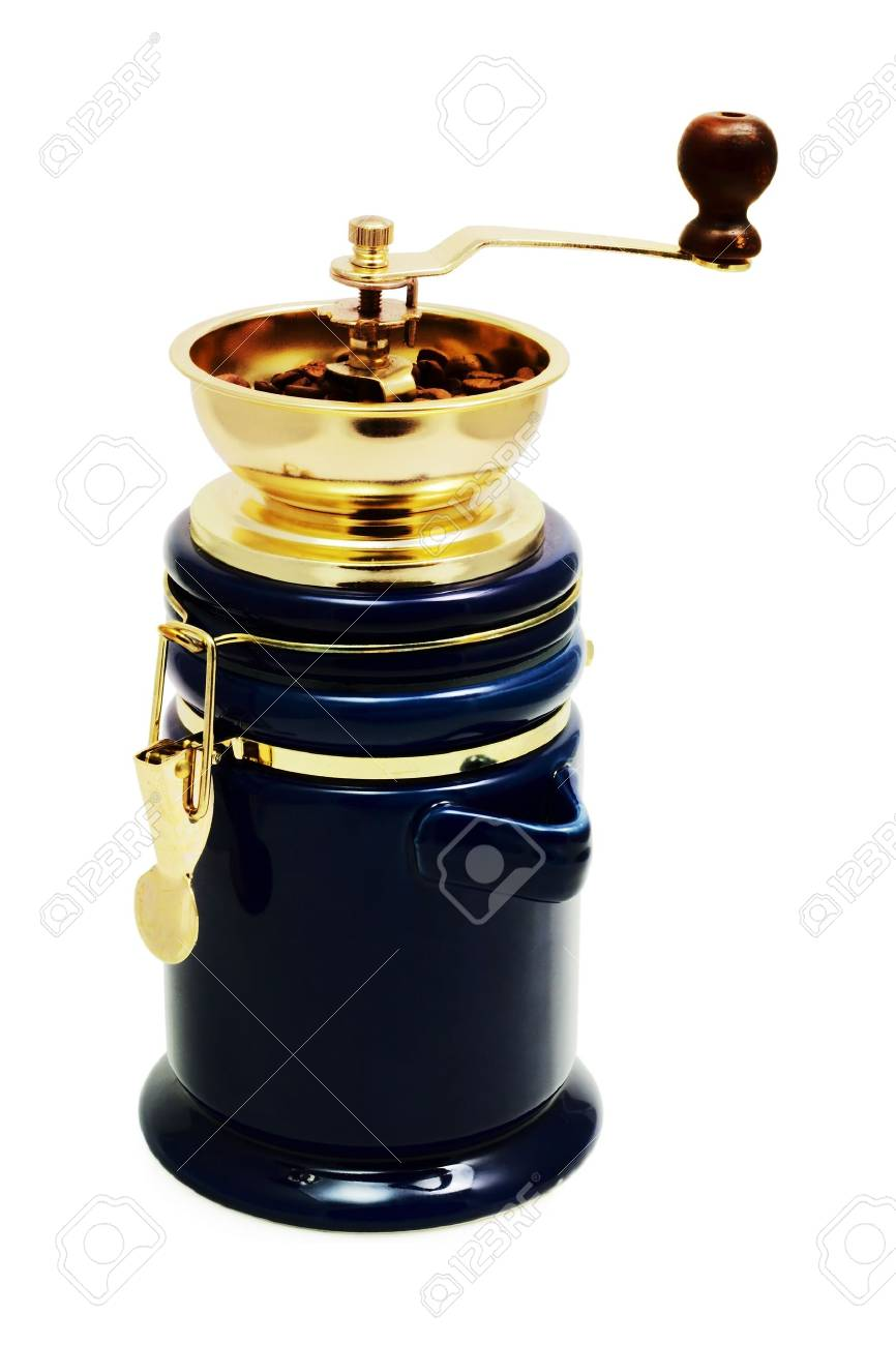 classic coffee grinder with coffee grains on a white background - 819862