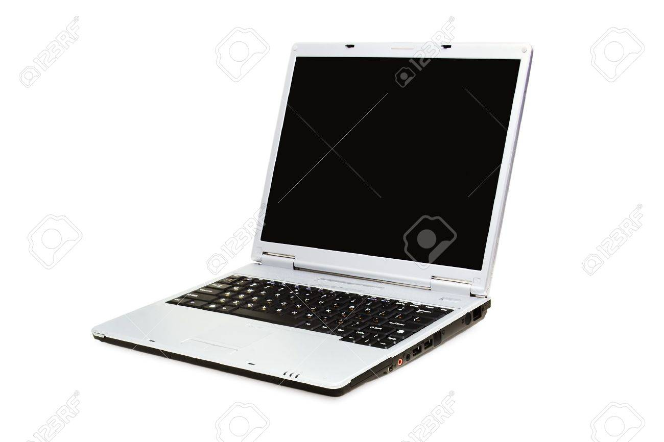 opened laptop on a white background with pretty shadow - 819900