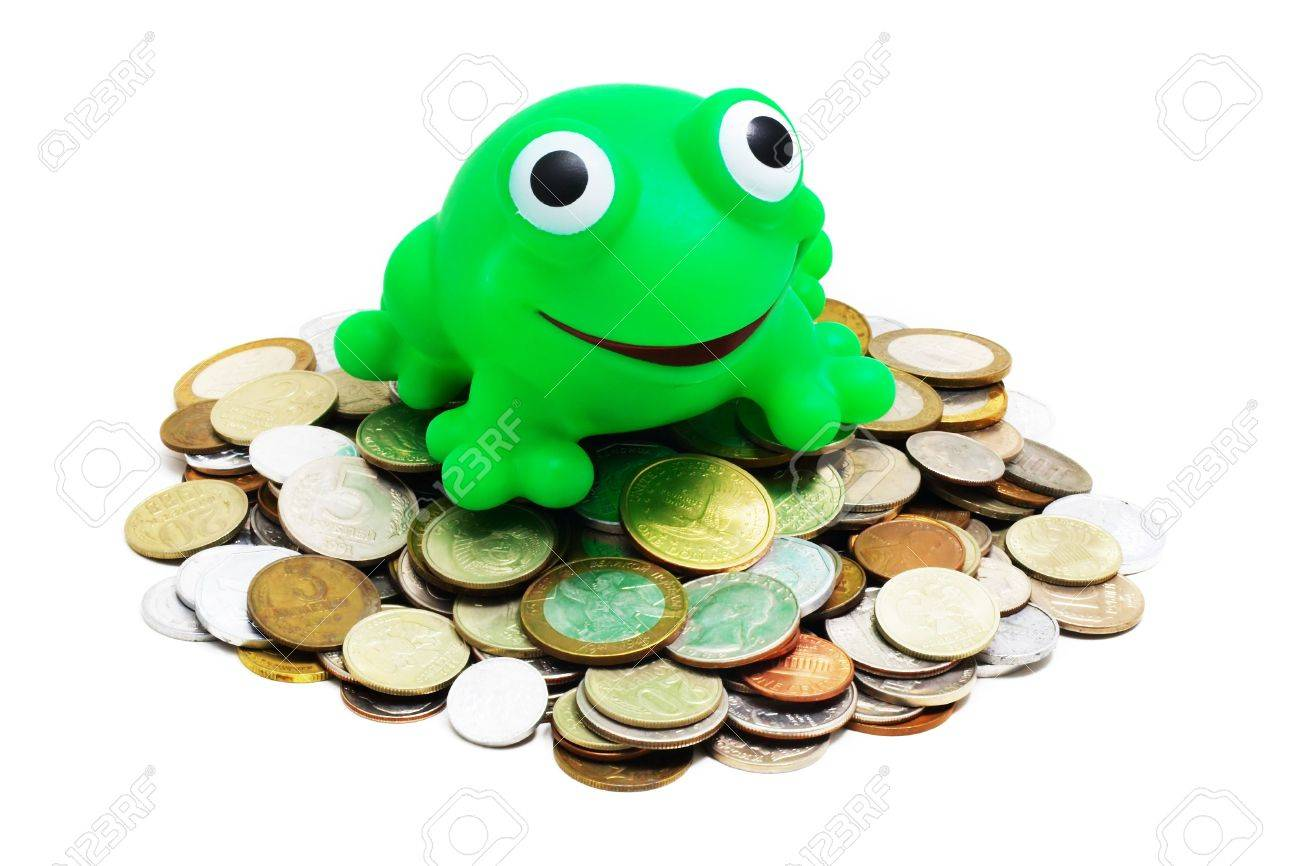 heaps of various coins and crazy frog (concept - greedy for money) on a white background - 819903