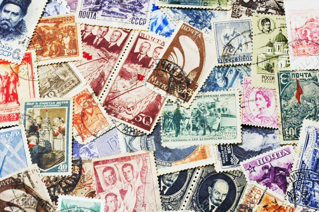 shot of the random collection of soviet postal stamps (1920-1980s) - 867665