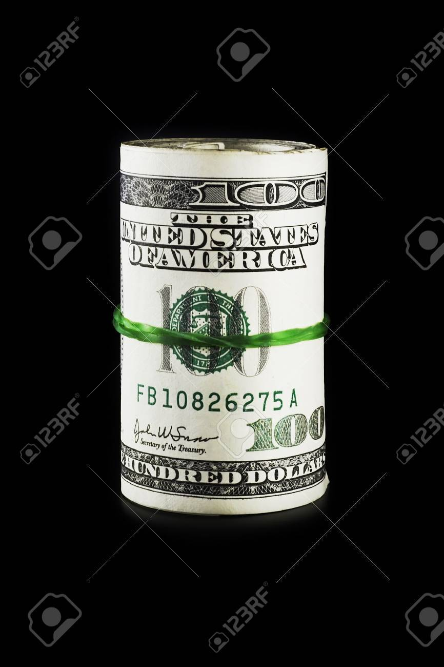 3500 dollars roll on a black background with smooth shadow - 933610