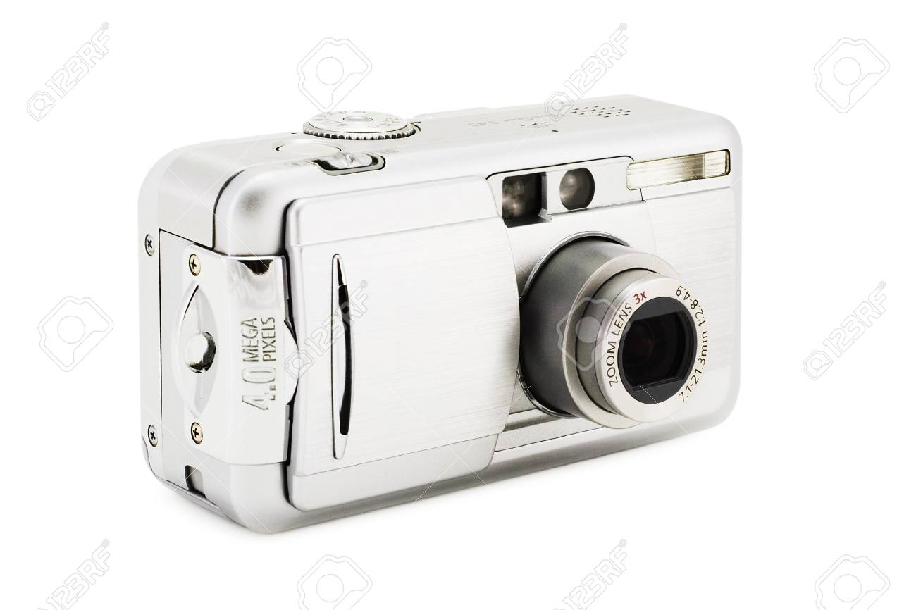 compact digital photo camera on a white background with clipping path for designers - 933623