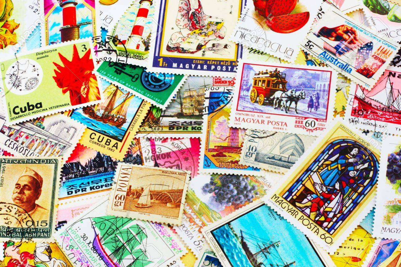 random collection of postal stamps (1920-2000s) - 933637