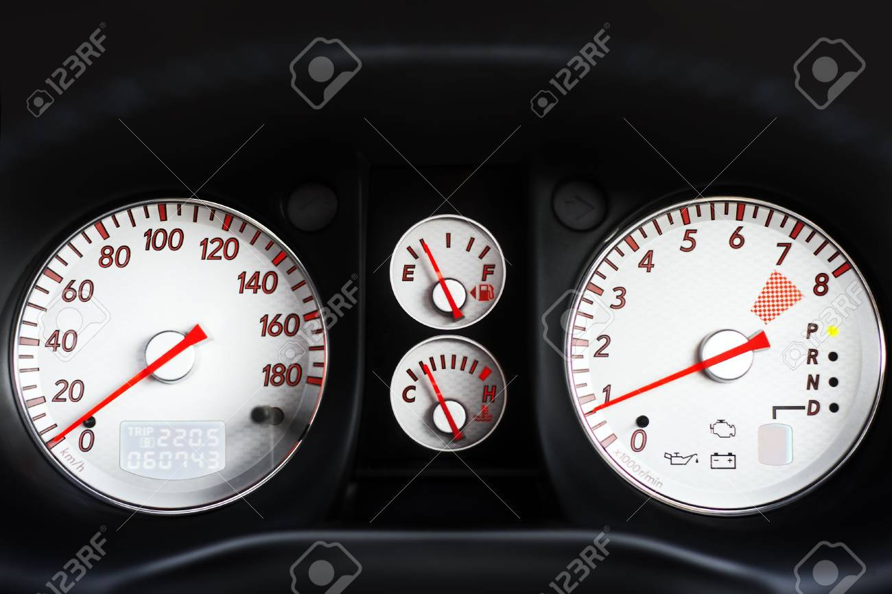 full dashboard of sport car with backlight - 966663