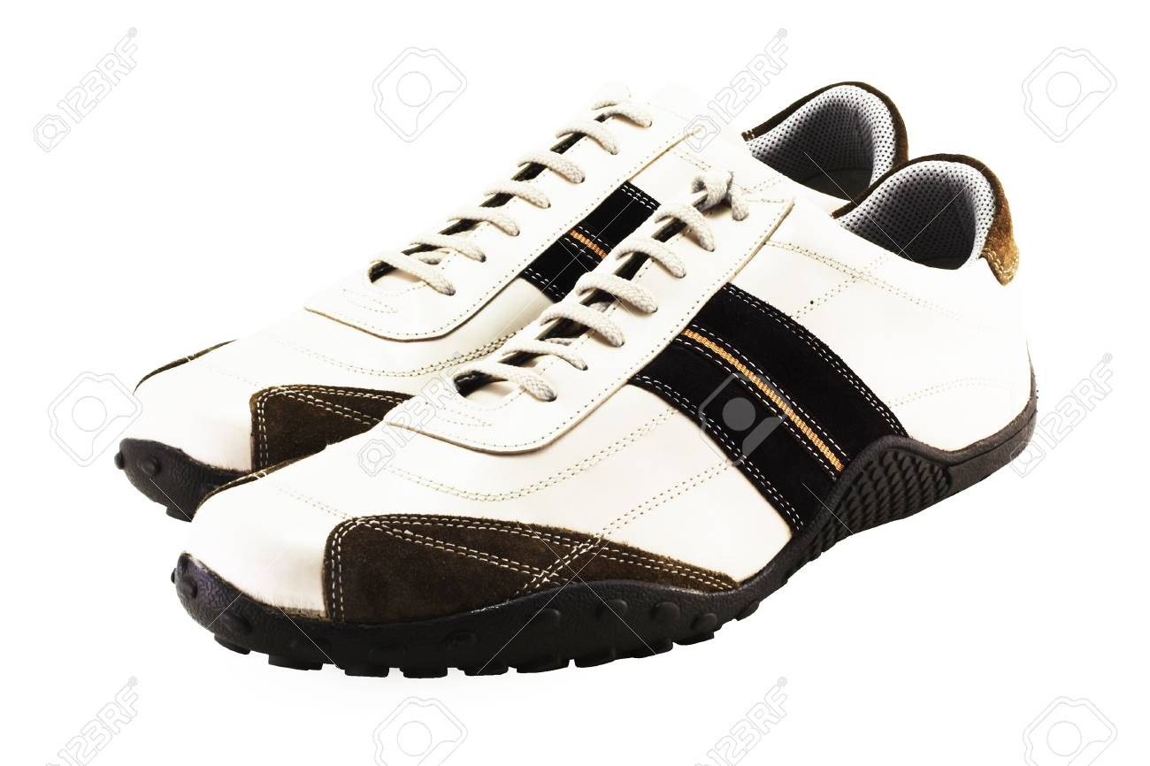 a couple of casual fashionable footwear on a white background - 1192515
