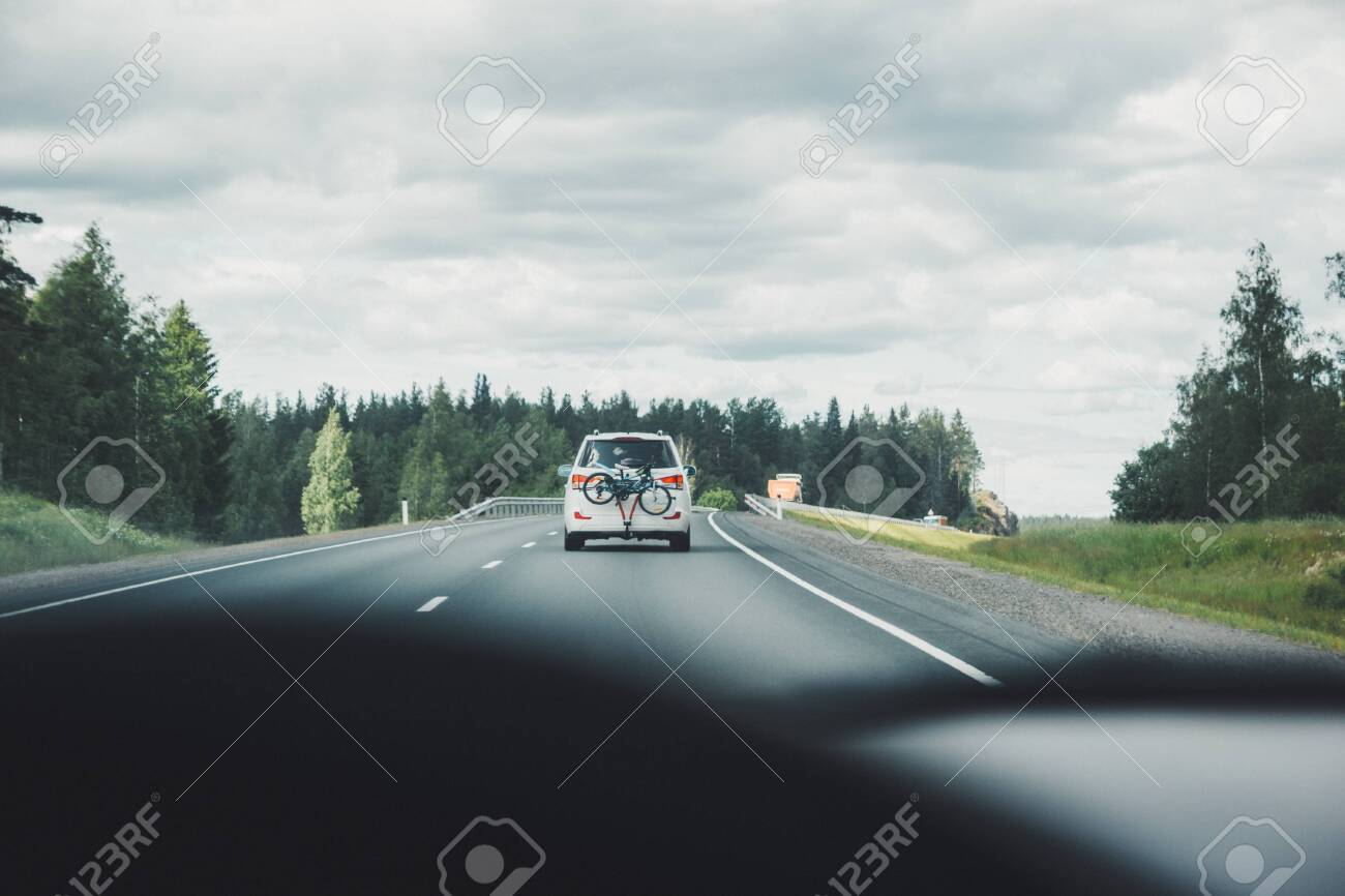 Car driving on winding road for new adventures pov - 146679682
