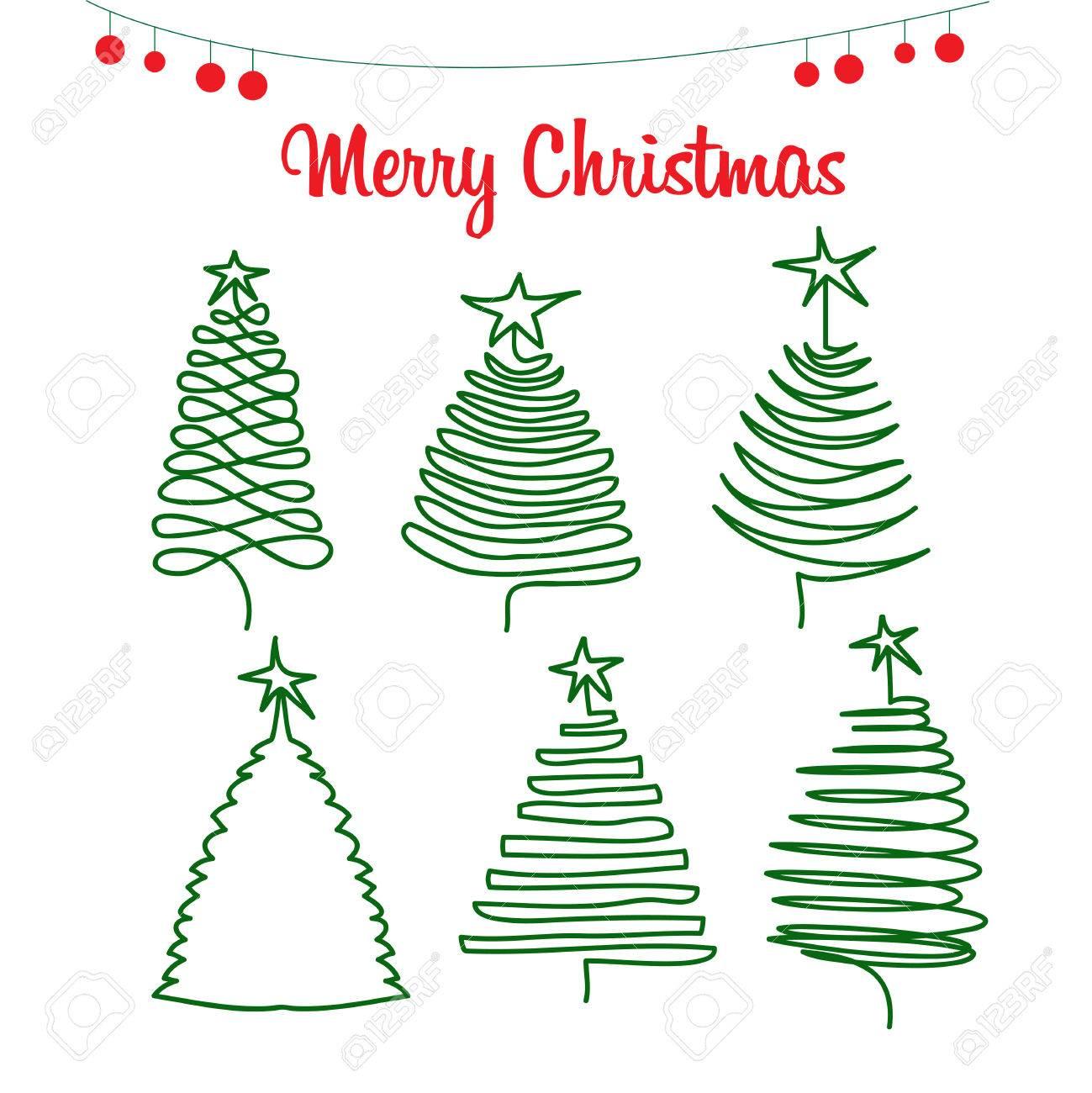 Rboles De Navidad árboles De Pino Dibujo A Mano En Estilo Doodle