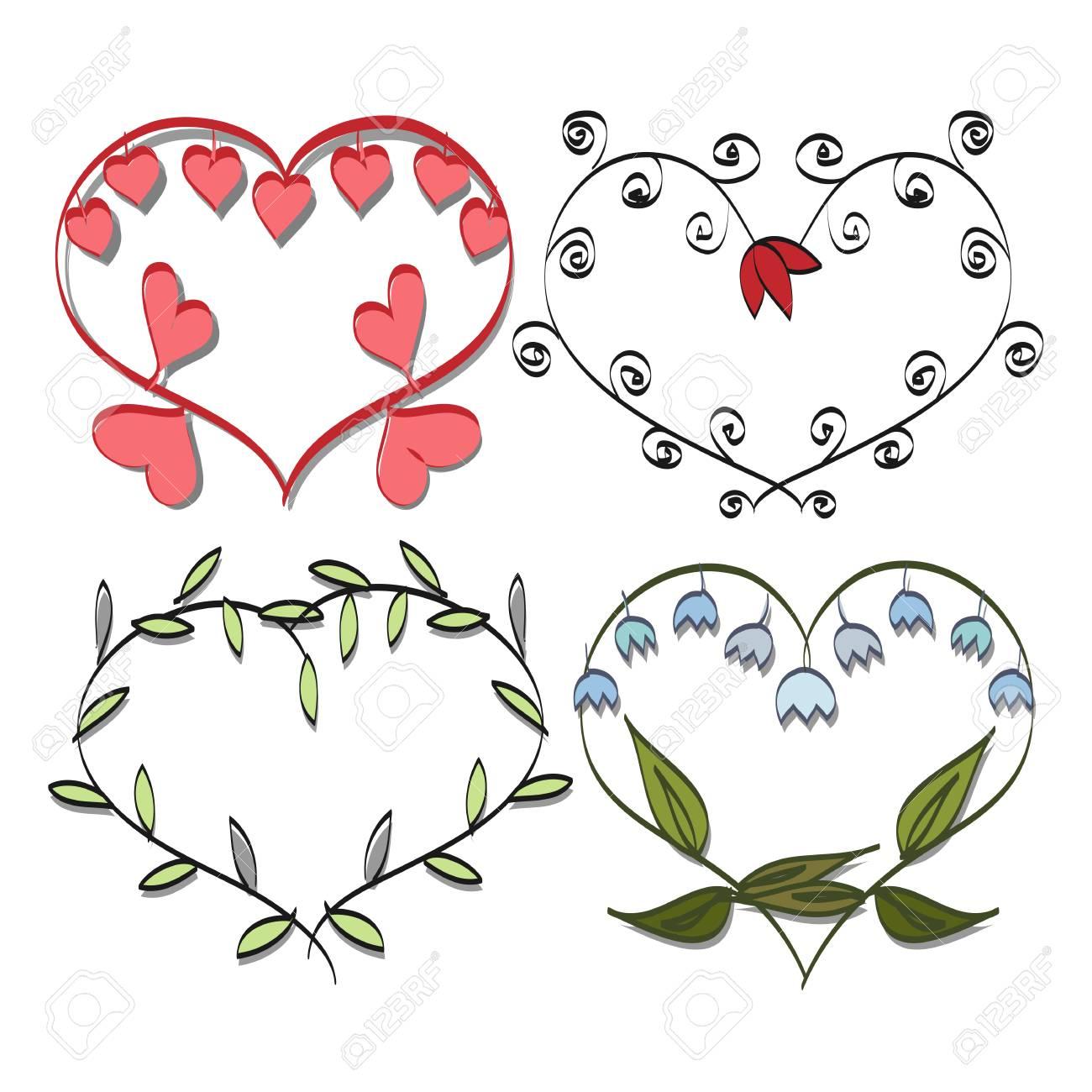 Conjunto Del Marco Romántico, Flores En El Corazón De San Valentín ...