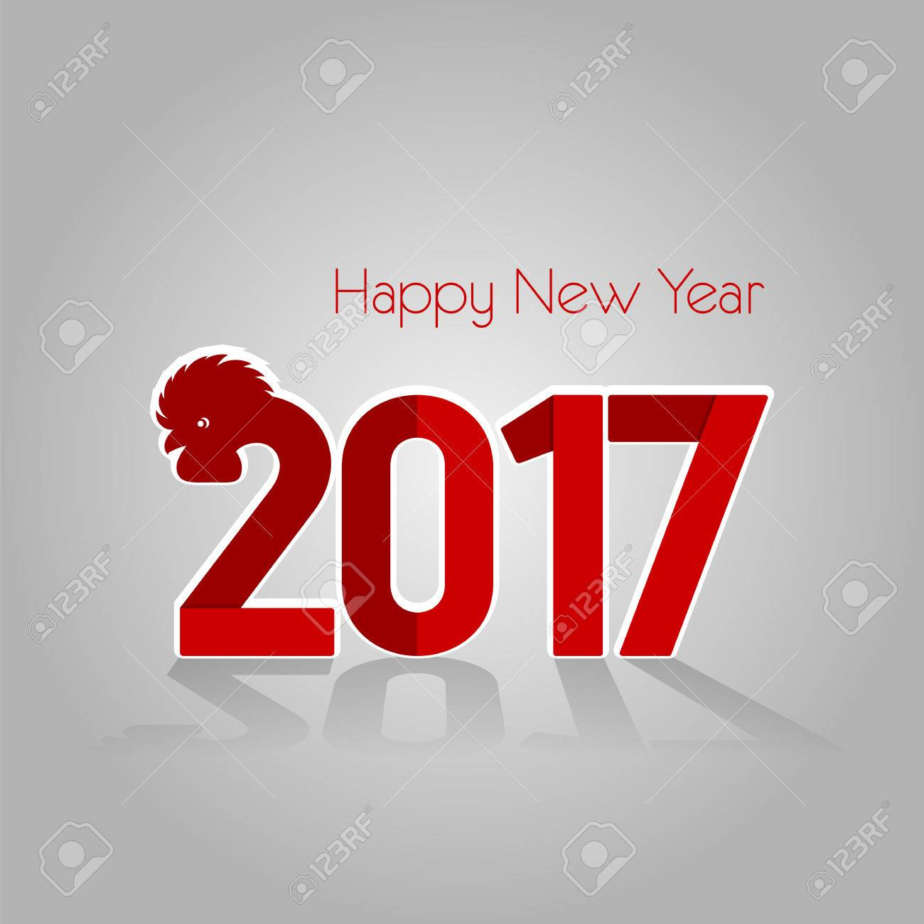 creative modern card new year red rooster 2017 chinese horoscope congratulations calligraphy and lettering stock