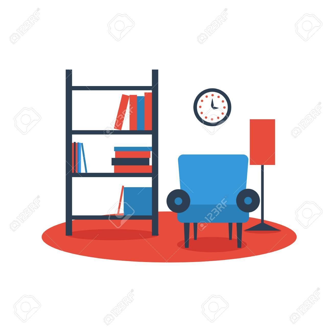 Bücherregal Sessel Interior Design Auf Weißem Hintergrund Flach ...