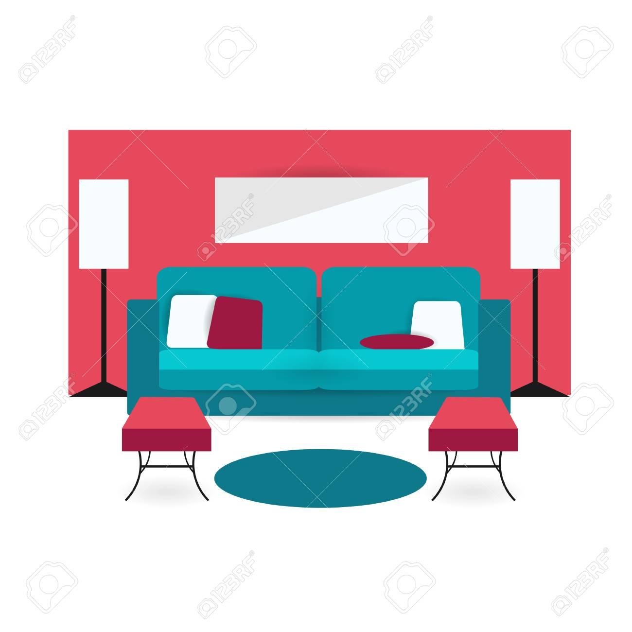 Wohnzimmer Hintergrund Unter Bunten Design Mit Möbeln Doppel Sofa,  Schränke, Lampen, Sessel