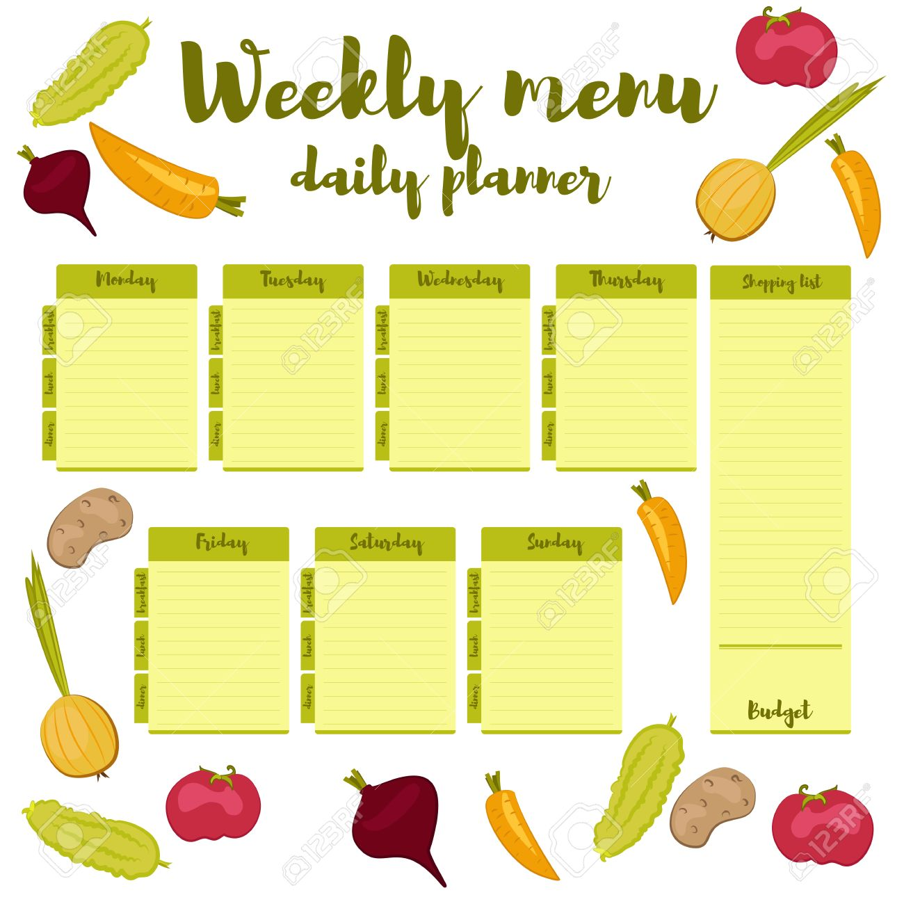 green colorful modern paper note week healthy eating doodle breakfast lunch dinner